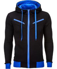 b5491f5d93751 Ombre Clothing Pánská mikina s kapucí a zipem Amigo černo modrá