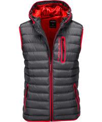 487bafc3e Ombre Clothing Pánská zimní vesta s kapucí Bishop černá - Glami.cz