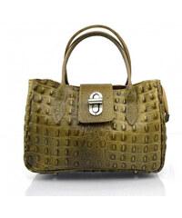 dc1c3aed1 Kožená luxusní menší béžová taupe kabelka do ruky lila little VERA PELLE  26084