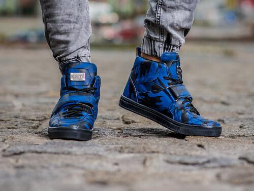 745b3d2d6f3a4 Pánské maskáčové boty - modrá - Glami.cz