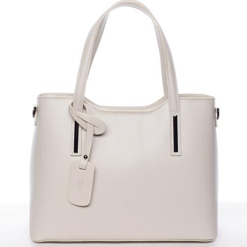 87d90c736 Delami Vera Pelle Elegantní kožená kabelka do ruky Maricela, světle šedá