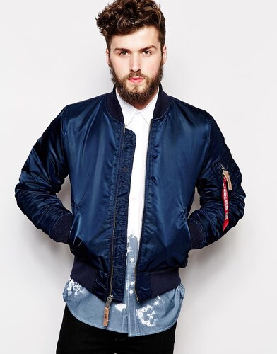 7005f5f97 Alpha Industries Bomber Jacket in Slim Fit - Blue - Glami.cz