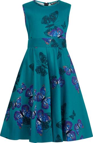 db2af1e30 Lindy Bop Dětské retro šaty Lady Vintage MINI BUTTERFLY HEPBURN TYRKYSOVÉ  dětské velikosti: 5-