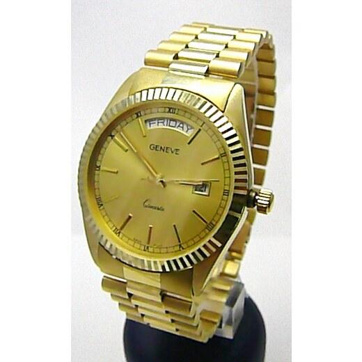 13113997c Luxusní elegantní pánské zlaté švýcarské hodinky 585/77,70gr GENEVE 3ATM  T153 POŠTOVNÉ ZDARMA! - Glami.cz